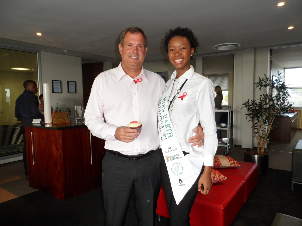 Acting MD Dave Hallas with Miss Earth ambassador Thobile