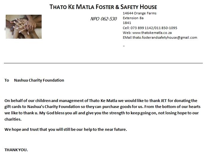 Thato Ke Matla Safety House letter