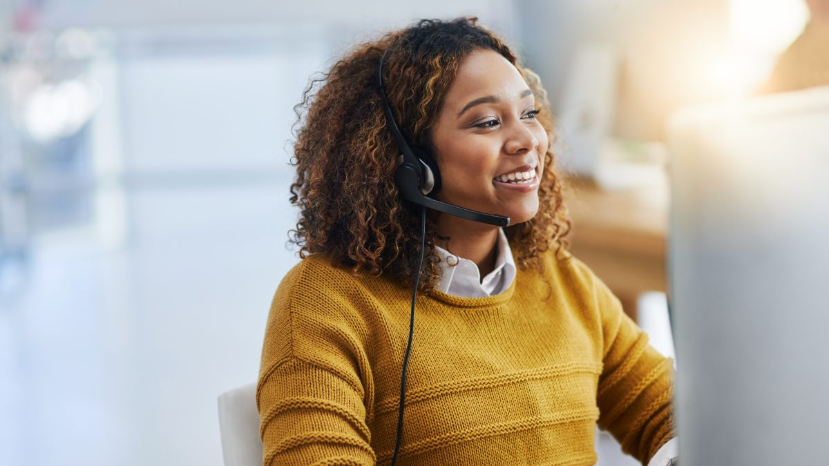 call centre agent using a voip phone