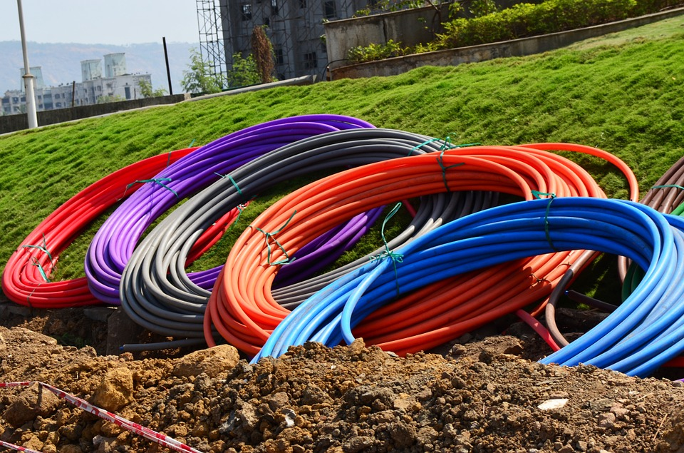 Fibre internet cables laying in a trench