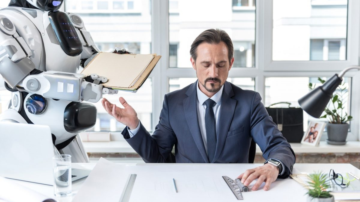A robot hands over a folder to the CEO, suggesting automation