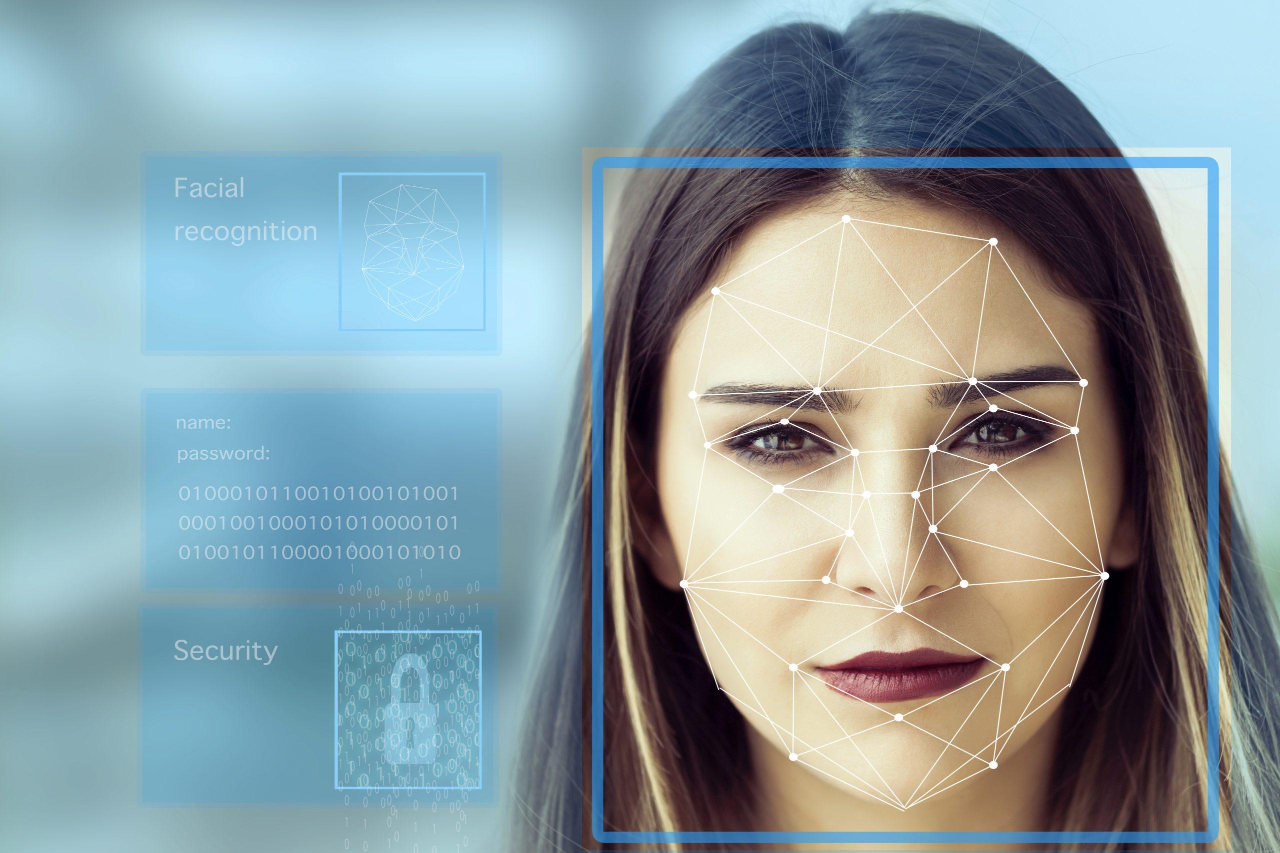 security cameras Facial Recognition System concept
